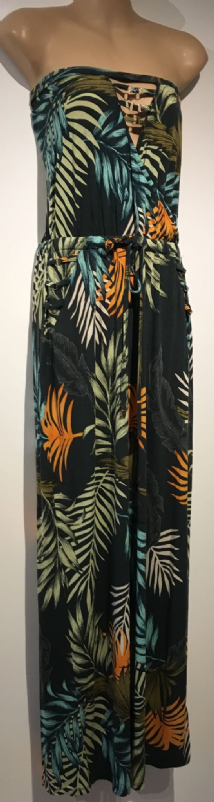 NEXT PALM PRINT STRAPLESS CROSS OVER MAXI DRESS SIZE 12